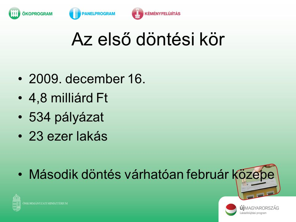 Az első döntési kör 2009. december 16. 4,8 milliárd Ft 534 pályázat