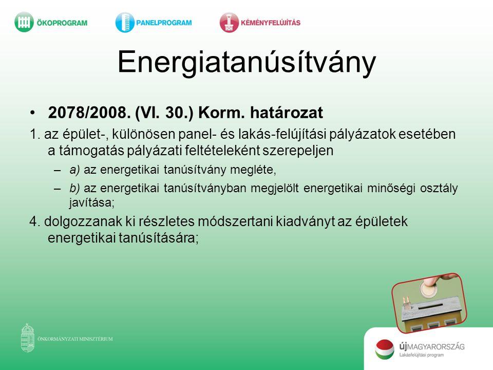 Energiatanúsítvány 2078/2008. (VI. 30.) Korm. határozat