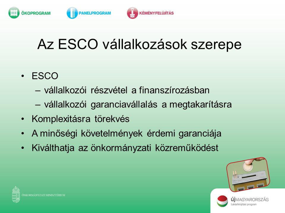 Az ESCO vállalkozások szerepe
