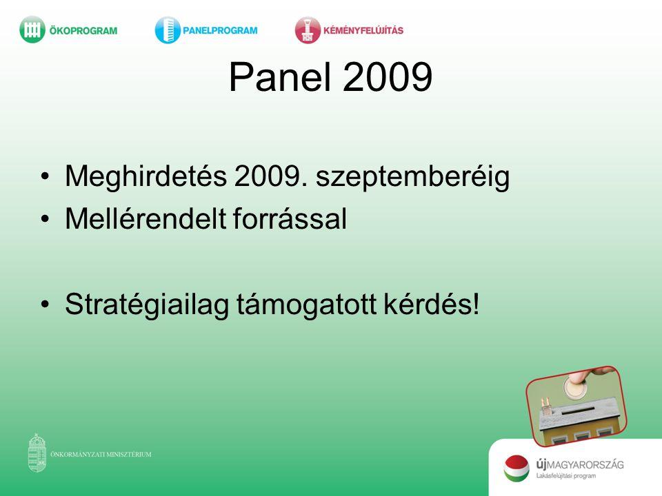 Panel 2009 Meghirdetés 2009. szeptemberéig Mellérendelt forrással
