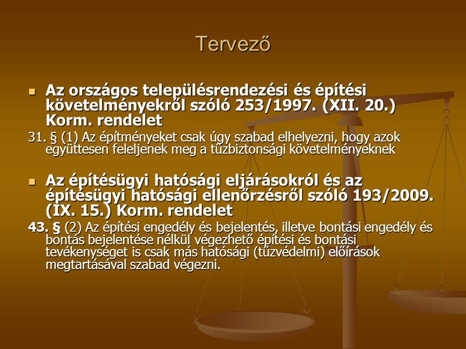 Tervező Az országos településrendezési és építési követelményekről szóló 253/1997. (XII. 20.) Korm. rendelet.