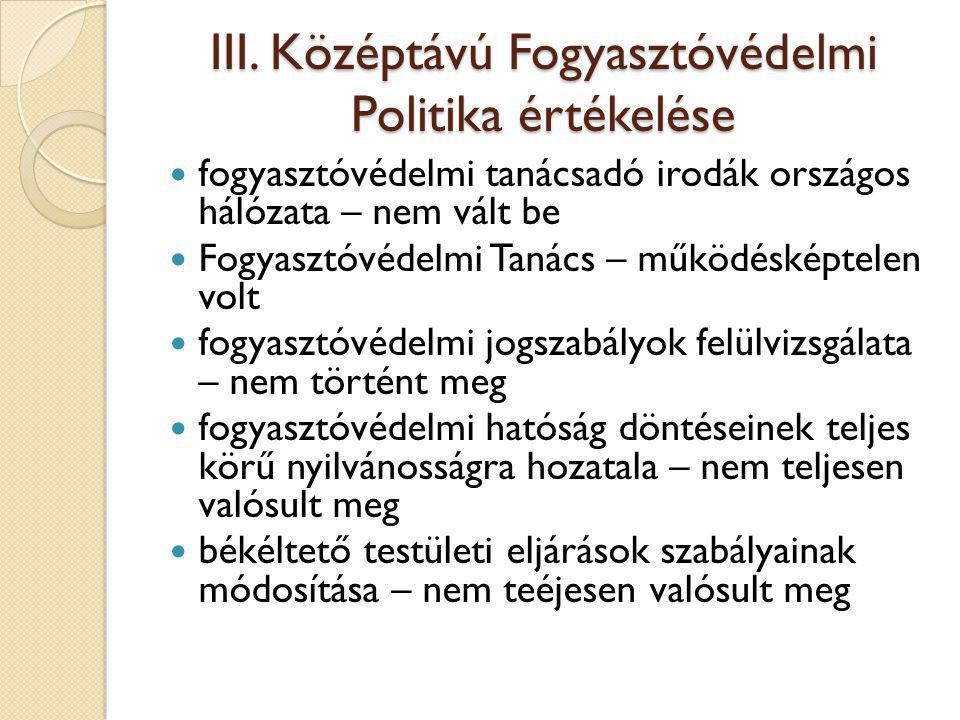 III. Középtávú Fogyasztóvédelmi Politika értékelése