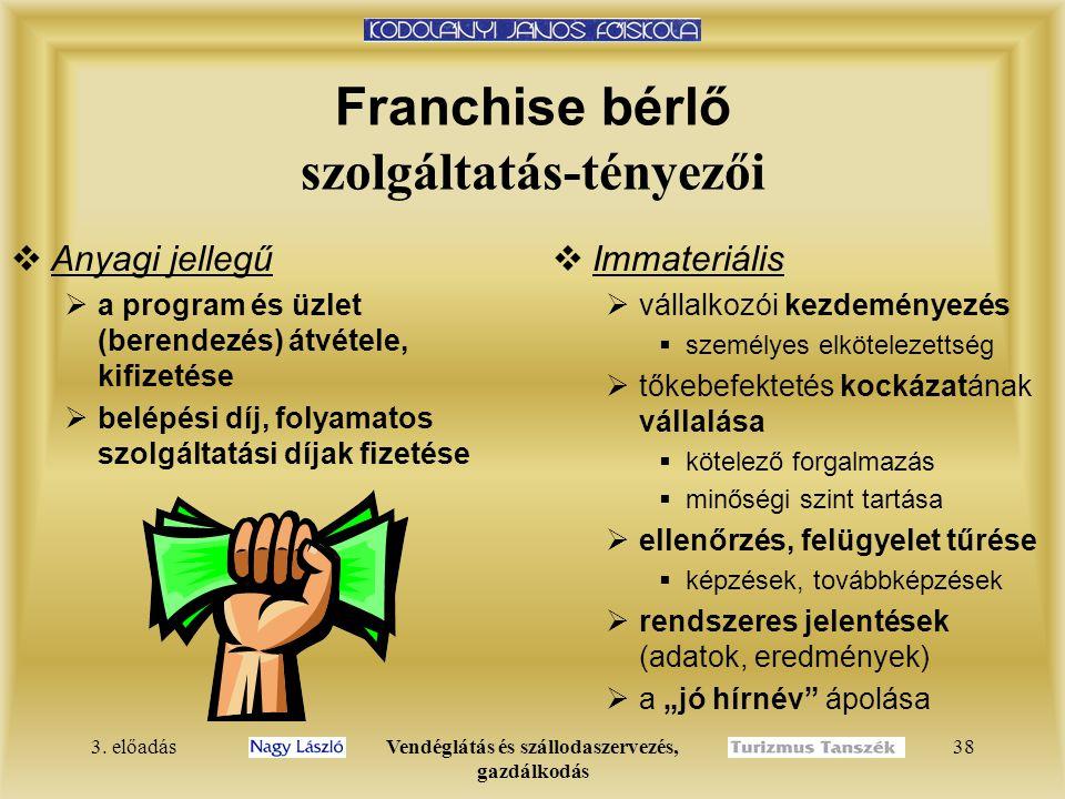 Franchise bérlő szolgáltatás-tényezői