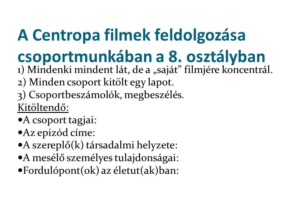 A Centropa filmek feldolgozása csoportmunkában a 8. osztályban