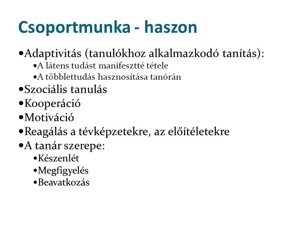 Csoportmunka - haszon Adaptivitás (tanulókhoz alkalmazkodó tanítás):