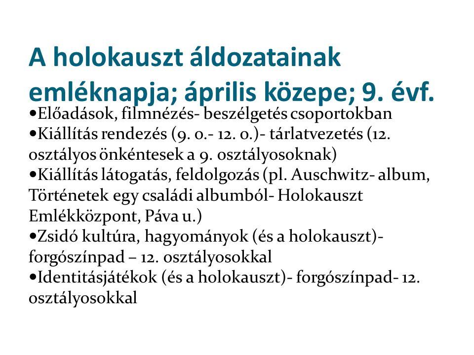 A holokauszt áldozatainak emléknapja; április közepe; 9. évf.