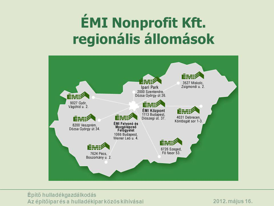 ÉMI Nonprofit Kft. regionális állomások