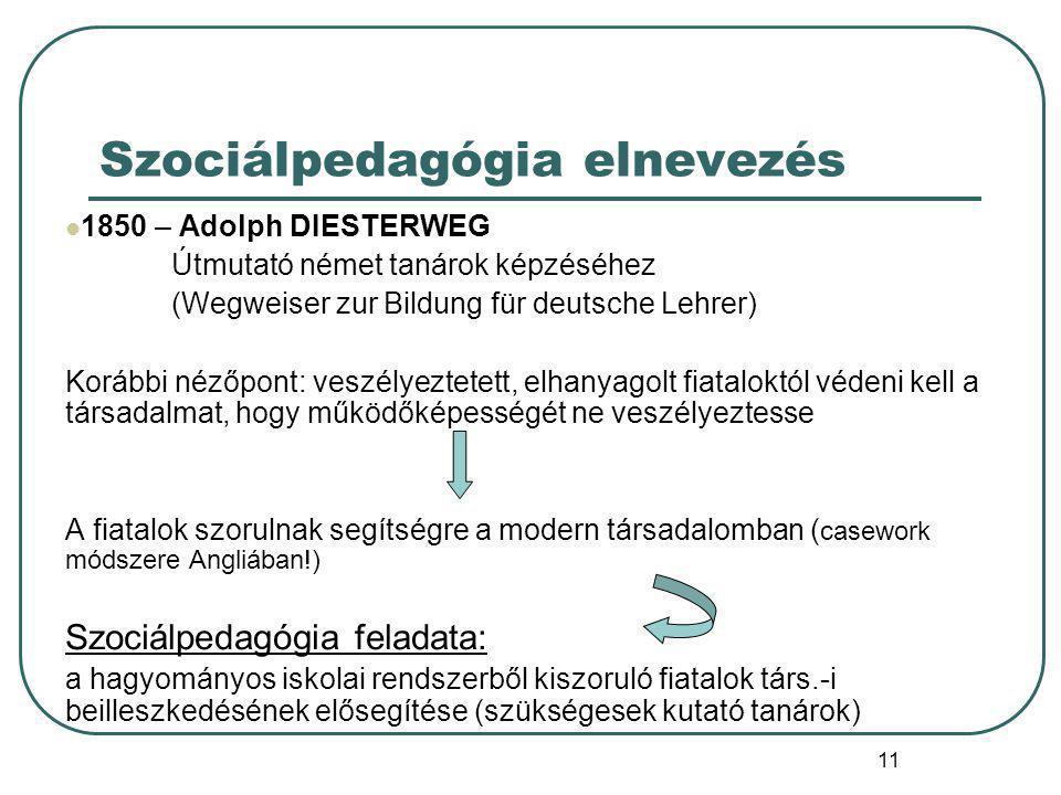Szociálpedagógia elnevezés