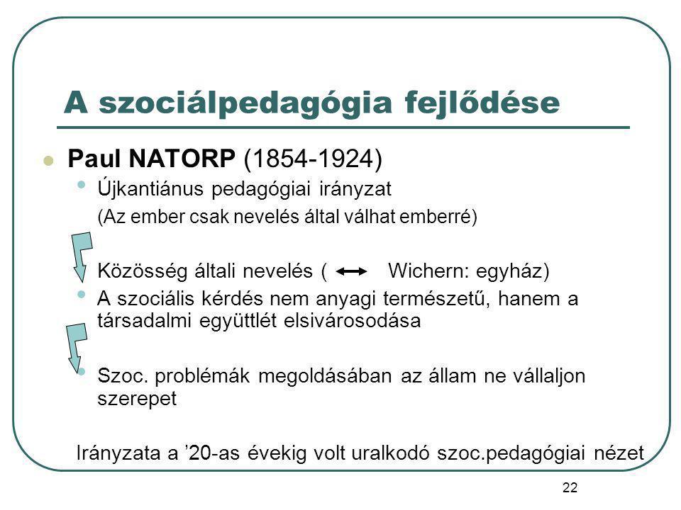 A szociálpedagógia fejlődése