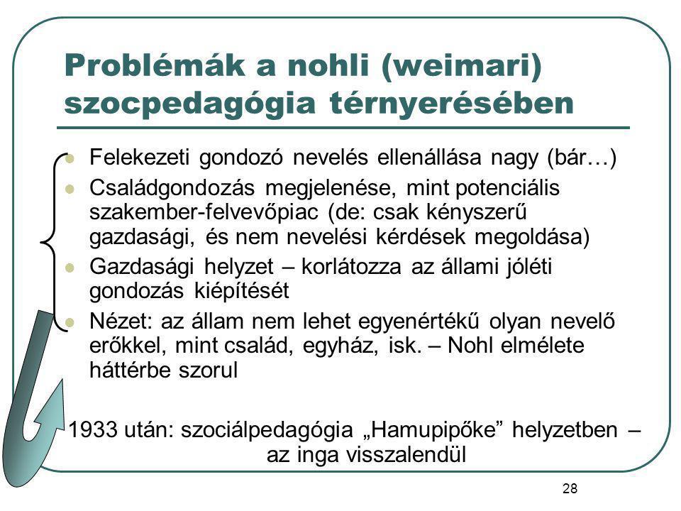 Problémák a nohli (weimari) szocpedagógia térnyerésében