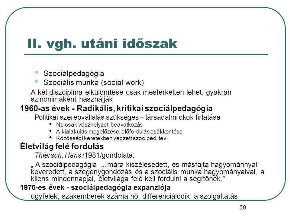 II. vgh. utáni időszak Szociálpedagógia. Szociális munka (social work)