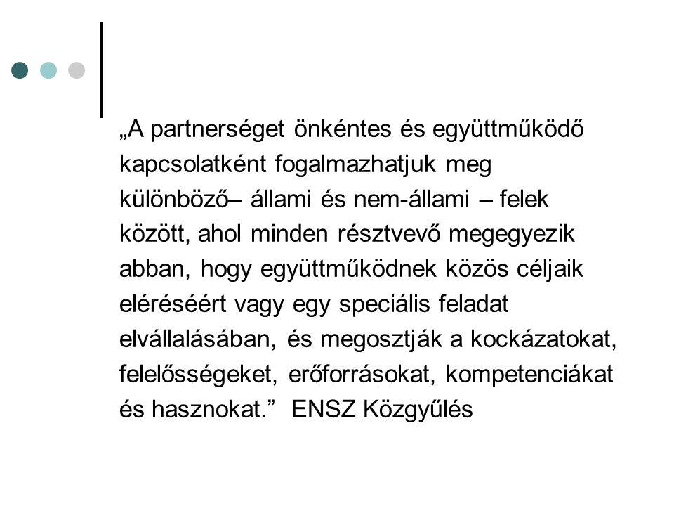"""""""A partnerséget önkéntes és együttműködő"""
