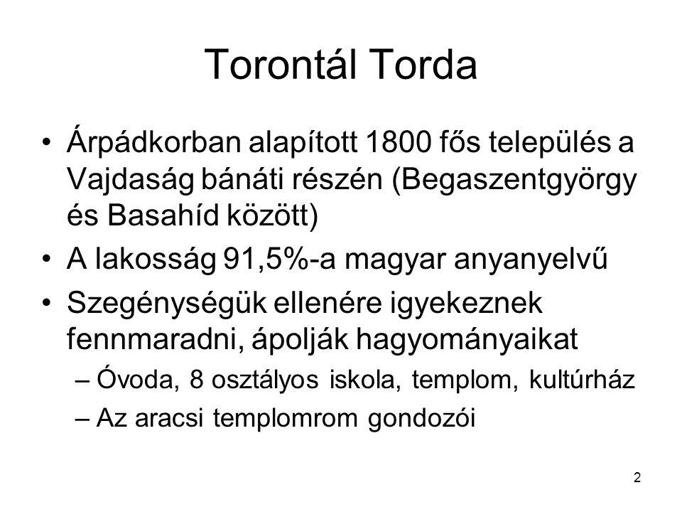 Torontál Torda Árpádkorban alapított 1800 fős település a Vajdaság bánáti részén (Begaszentgyörgy és Basahíd között)