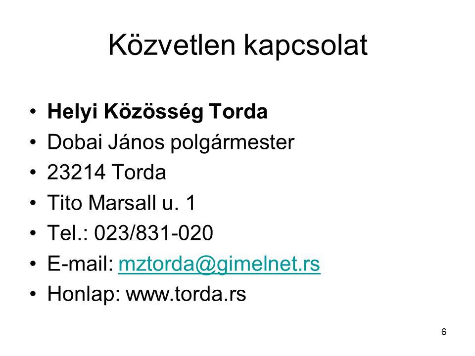 Közvetlen kapcsolat Helyi Közösség Torda Dobai János polgármester