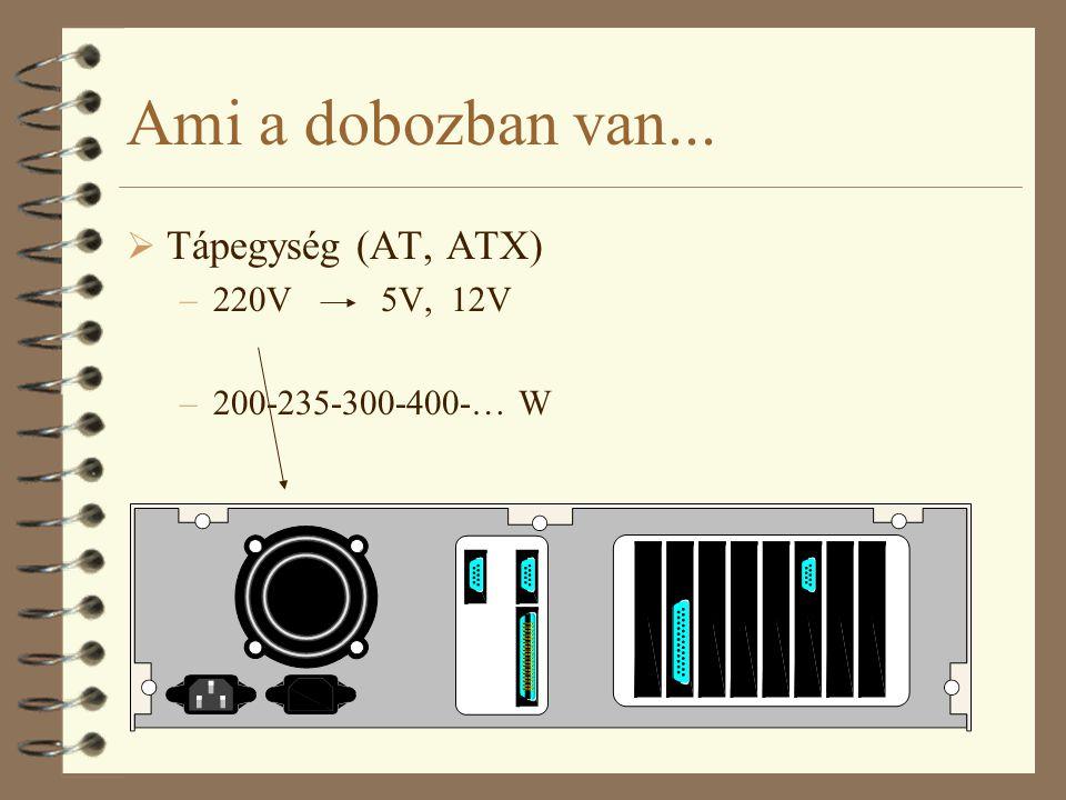 Ami a dobozban van... Tápegység (AT, ATX) 220V 5V, 12V
