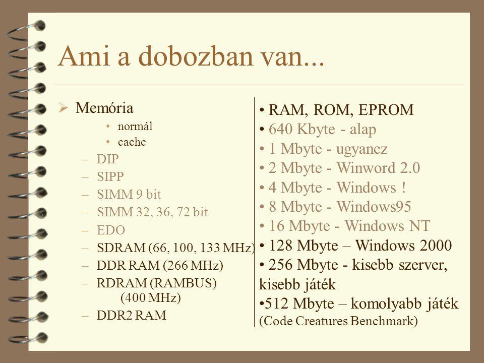 Ami a dobozban van... Memória RAM, ROM, EPROM 640 Kbyte - alap