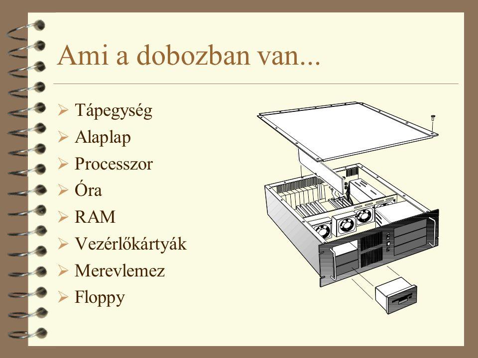 Ami a dobozban van... Tápegység Alaplap Processzor Óra RAM