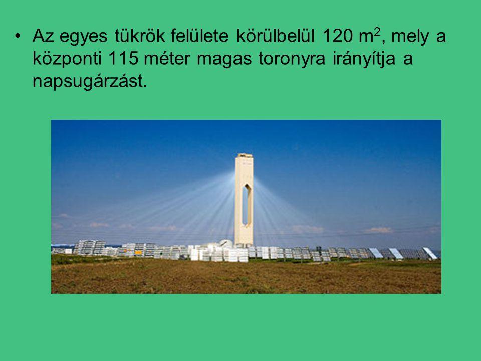 Az egyes tükrök felülete körülbelül 120 m2, mely a központi 115 méter magas toronyra irányítja a napsugárzást.