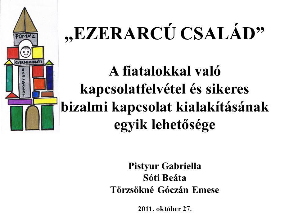 """""""EZERARCÚ CSALÁD A fiatalokkal való kapcsolatfelvétel és sikeres bizalmi kapcsolat kialakításának egyik lehetősége Pistyur Gabriella Sóti Beáta Törzsökné Góczán Emese 2011."""