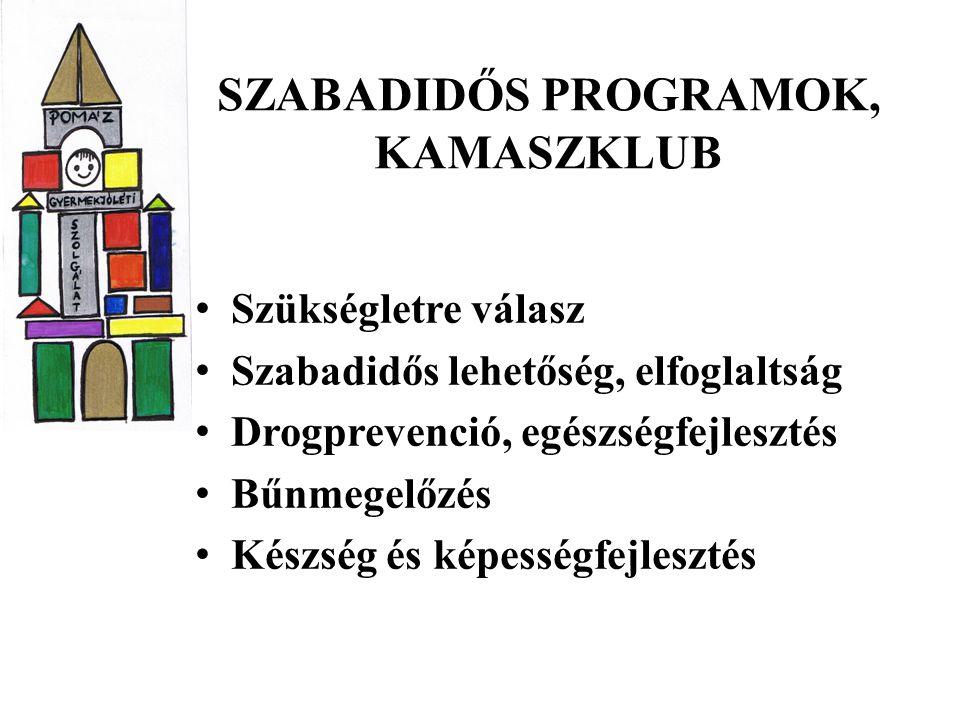 SZABADIDŐS PROGRAMOK, KAMASZKLUB