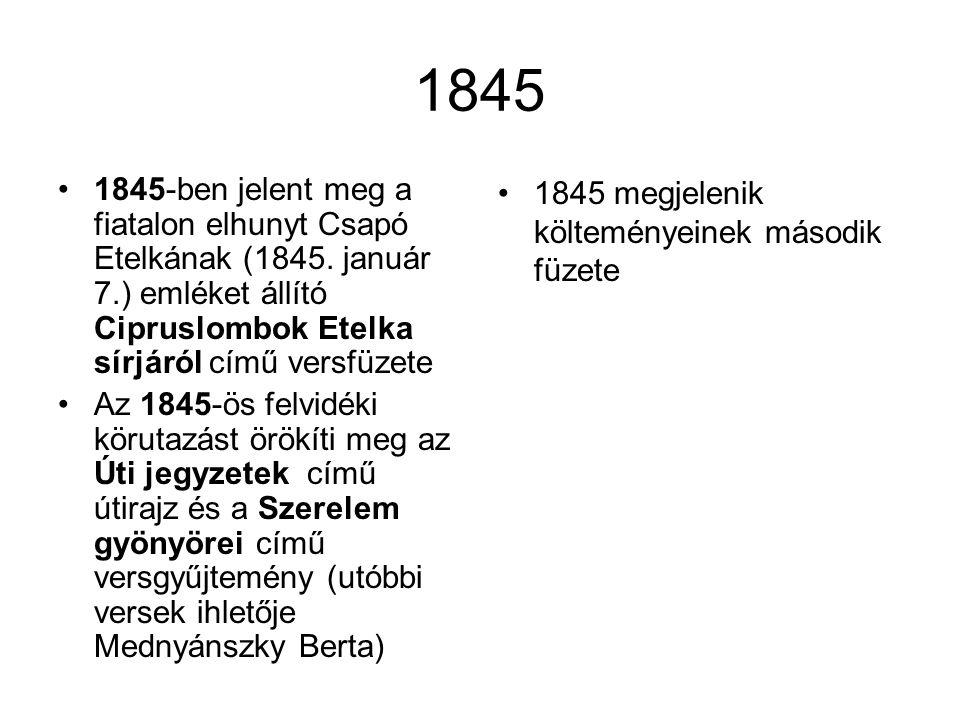 1845 1845-ben jelent meg a fiatalon elhunyt Csapó Etelkának (1845. január 7.) emléket állító Cipruslombok Etelka sírjáról című versfüzete.