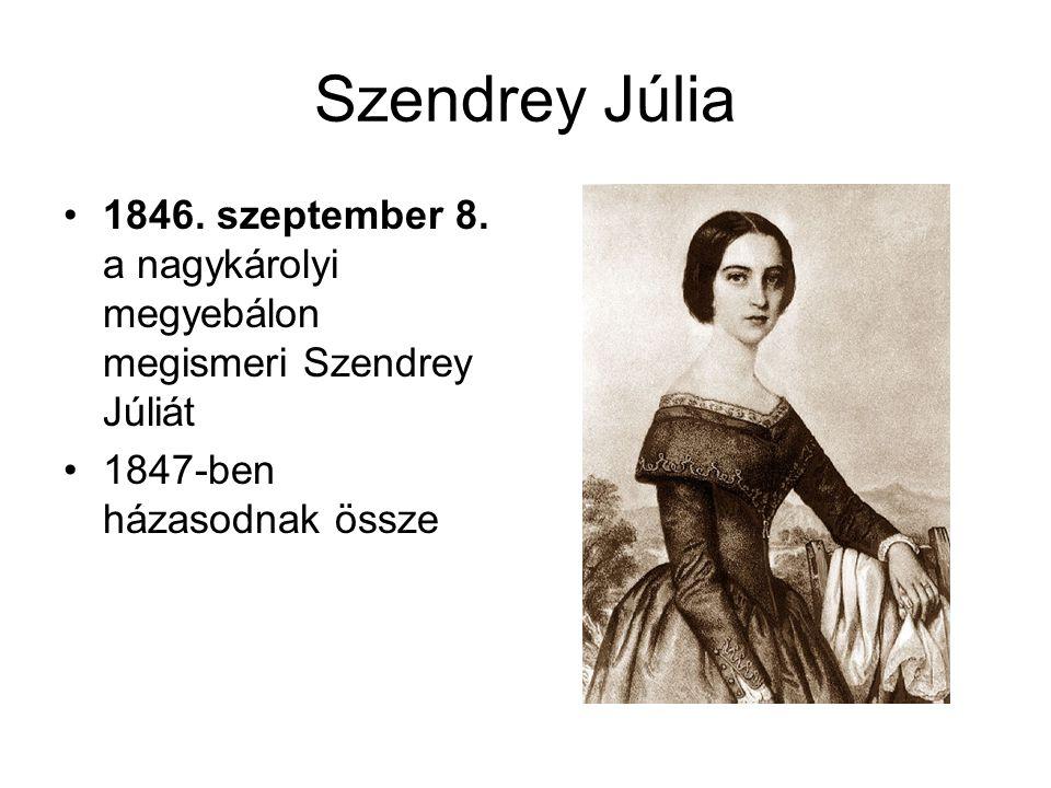 Szendrey Júlia 1846. szeptember 8. a nagykárolyi megyebálon megismeri Szendrey Júliát.