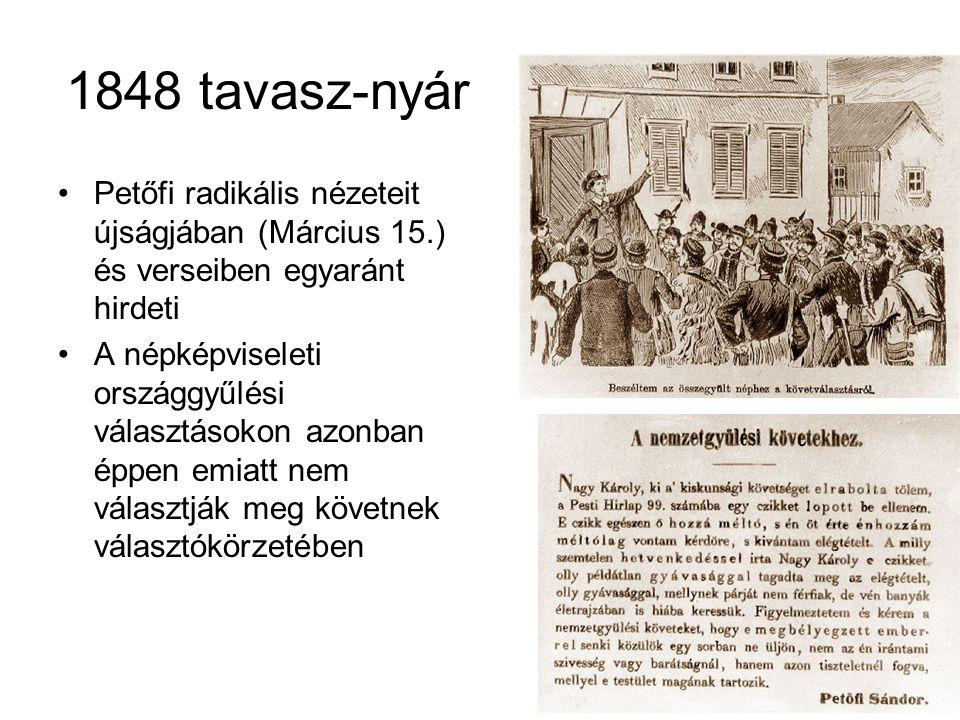 1848 tavasz-nyár Petőfi radikális nézeteit újságjában (Március 15.) és verseiben egyaránt hirdeti.