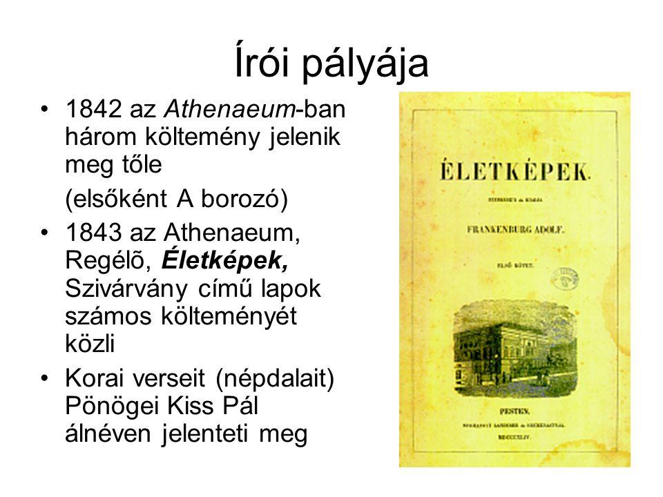 Írói pályája 1842 az Athenaeum-ban három költemény jelenik meg tőle