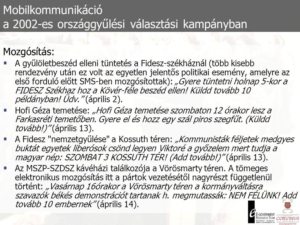 Mobilkommunikáció a 2002-es országgyűlési választási kampányban