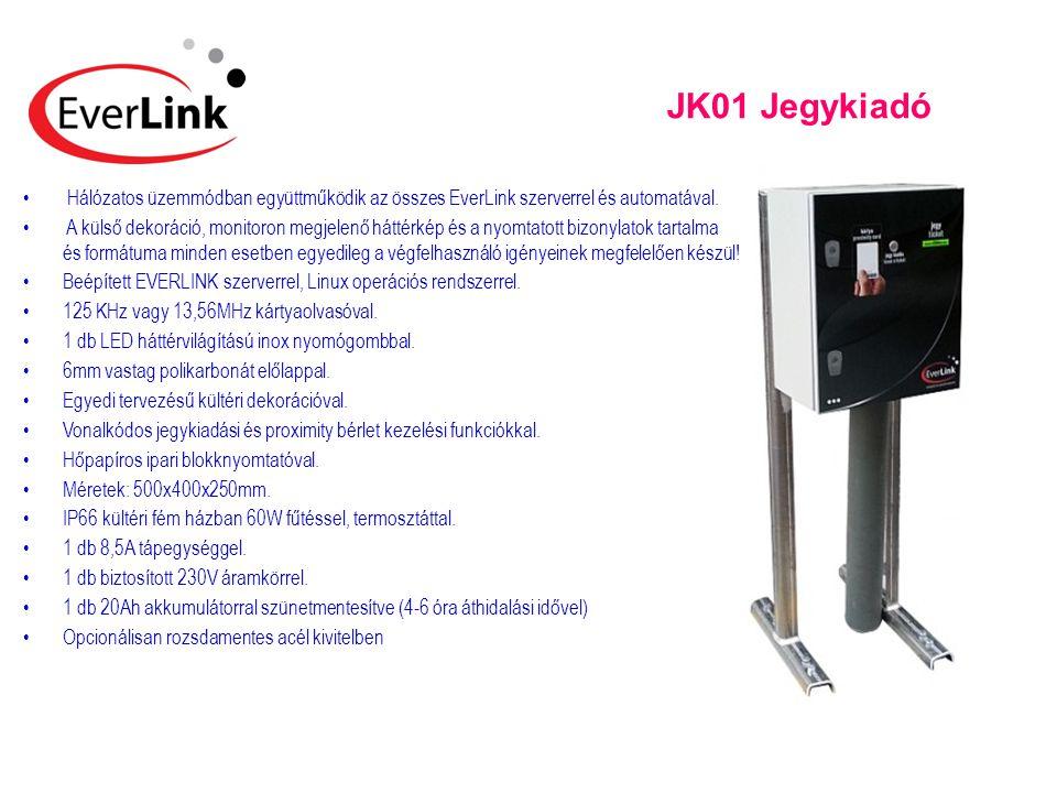 JK01 Jegykiadó Hálózatos üzemmódban együttműködik az összes EverLink szerverrel és automatával.