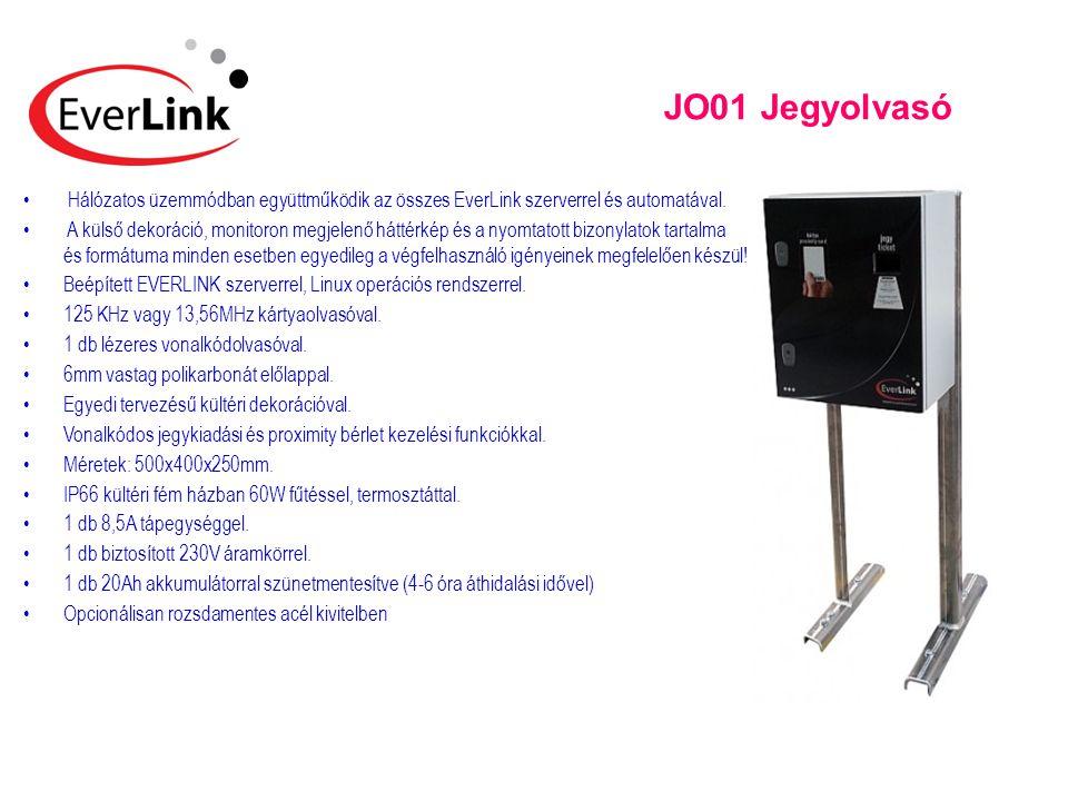 JO01 Jegyolvasó Hálózatos üzemmódban együttműködik az összes EverLink szerverrel és automatával.