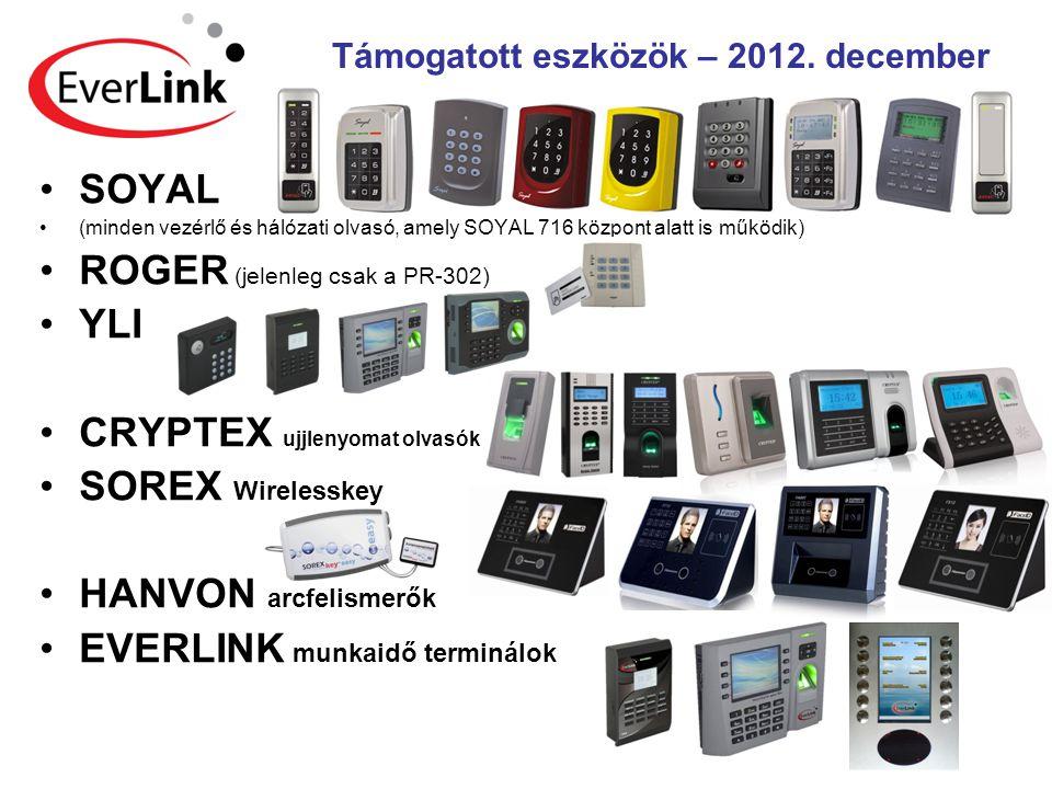 Támogatott eszközök – 2012. december