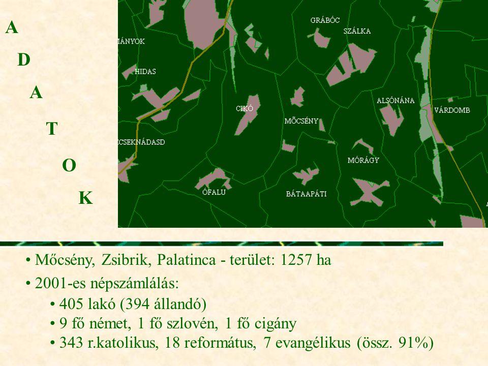 A D A T O K Mőcsény, Zsibrik, Palatinca - terület: 1257 ha