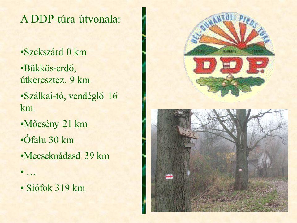 A DDP-túra útvonala: Szekszárd 0 km Bükkös-erdő, útkeresztez. 9 km