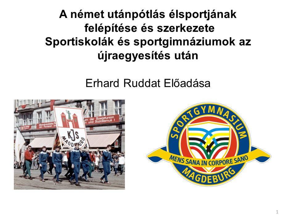 A német utánpótlás élsportjának felépítése és szerkezete Sportiskolák és sportgimnáziumok az újraegyesítés után Erhard Ruddat Előadása