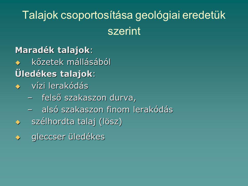 Talajok csoportosítása geológiai eredetük szerint