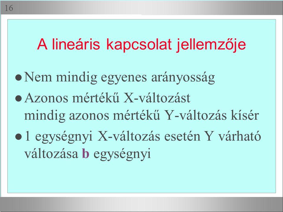 A lineáris kapcsolat jellemzője