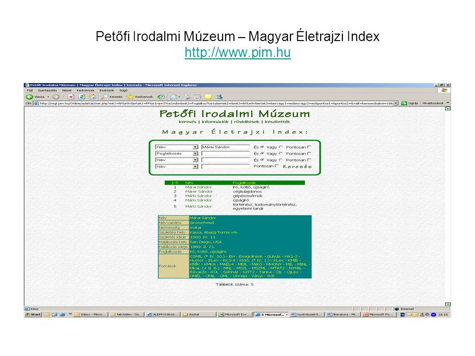 Petőfi Irodalmi Múzeum – Magyar Életrajzi Index http://www.pim.hu