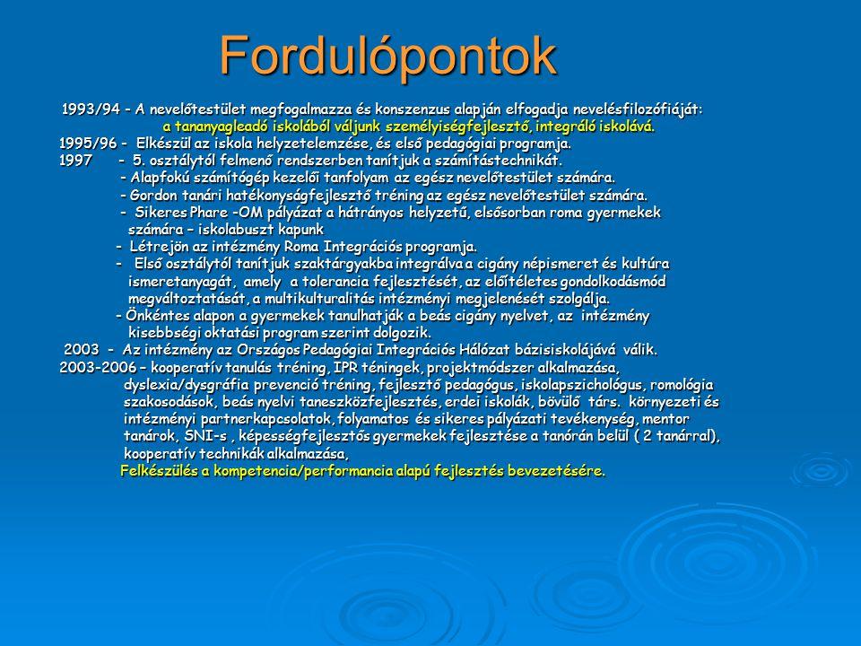 Fordulópontok 1993/94 - A nevelőtestület megfogalmazza és konszenzus alapján elfogadja nevelésfilozófiáját: