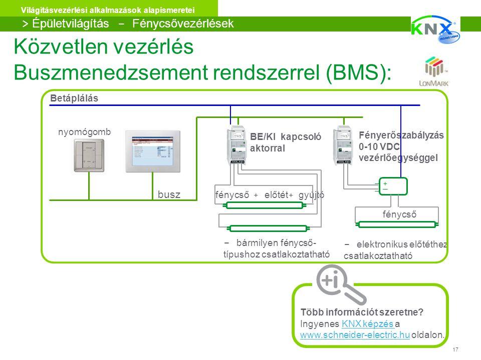 Közvetlen vezérlés Buszmenedzsement rendszerrel (BMS):