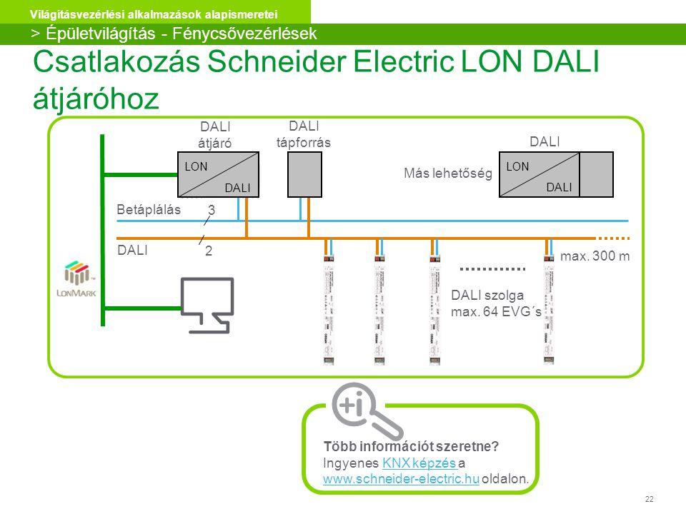 Csatlakozás Schneider Electric LON DALI átjáróhoz