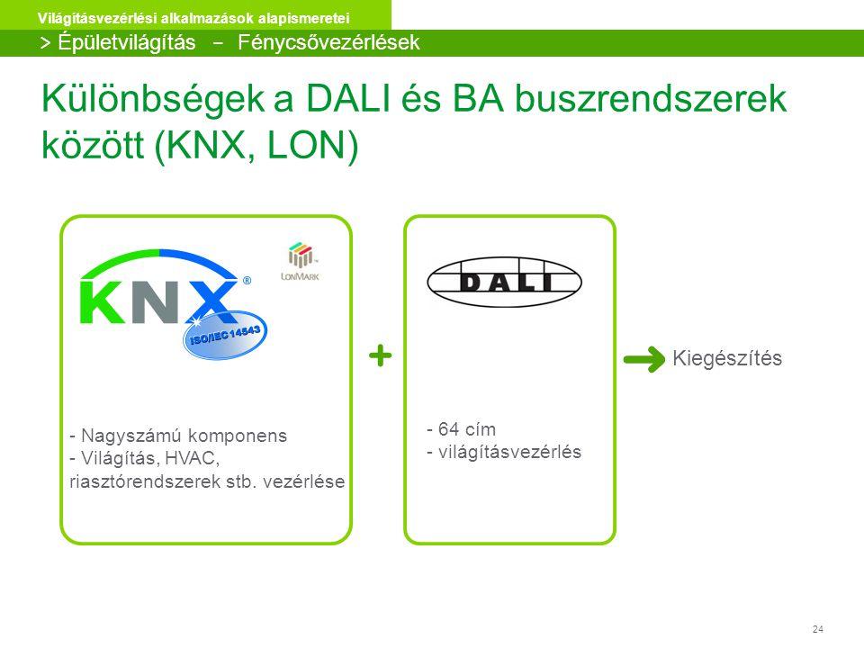 Különbségek a DALI és BA buszrendszerek között (KNX, LON)