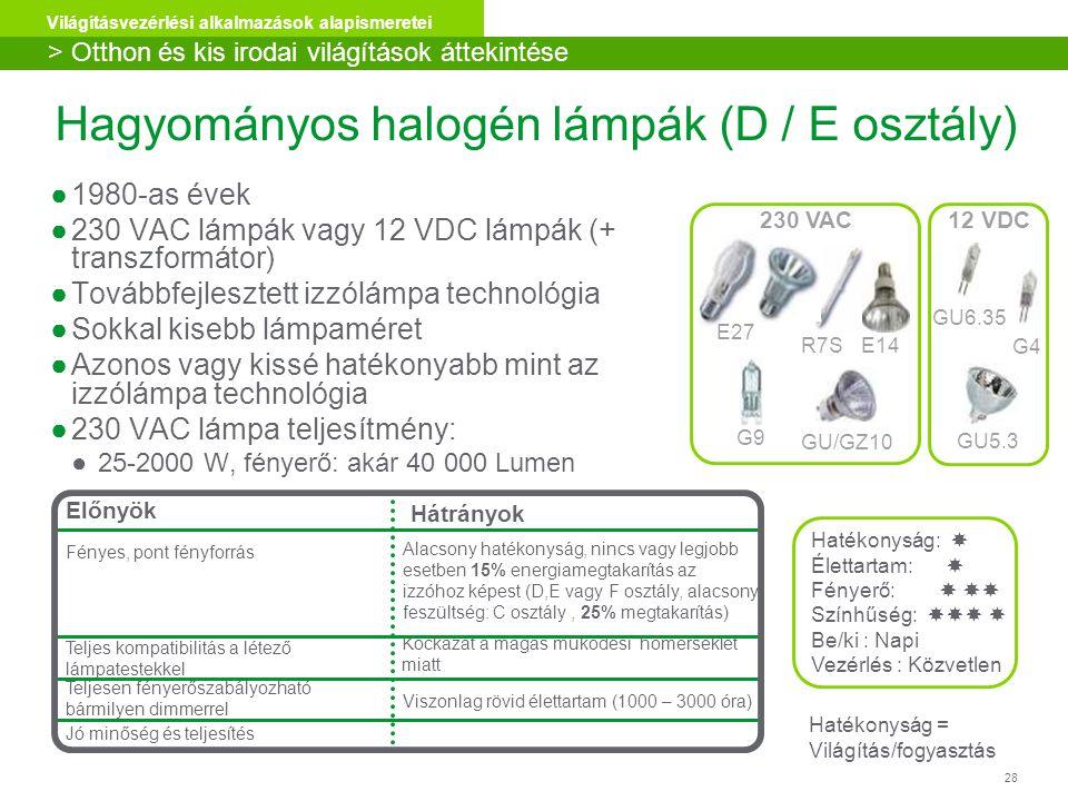 Hagyományos halogén lámpák (D / E osztály)