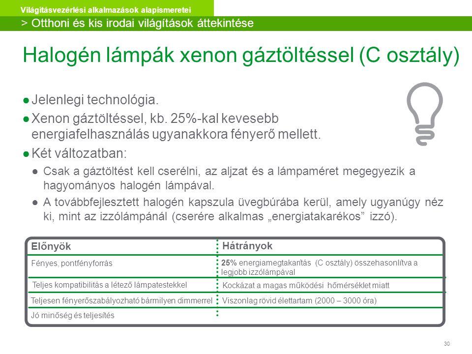 Halogén lámpák xenon gáztöltéssel (C osztály)