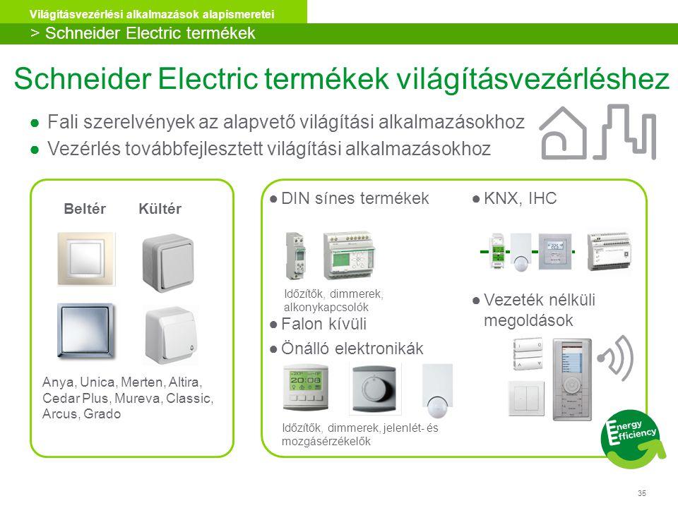 Schneider Electric termékek világításvezérléshez