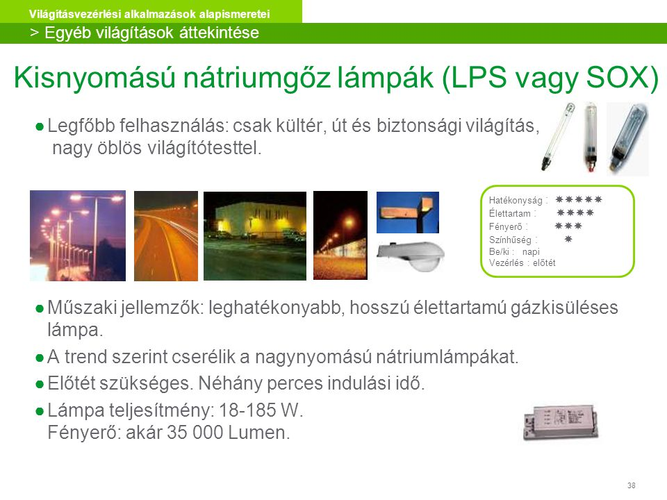 Kisnyomású nátriumgőz lámpák (LPS vagy SOX)