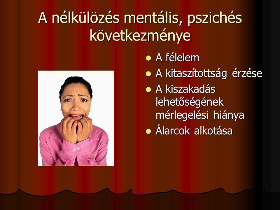 A nélkülözés mentális, pszichés következménye