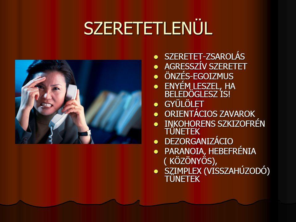 SZERETETLENÜL SZERETET-ZSAROLÁS AGRESSZÍV SZERETET ÖNZÉS-EGOIZMUS