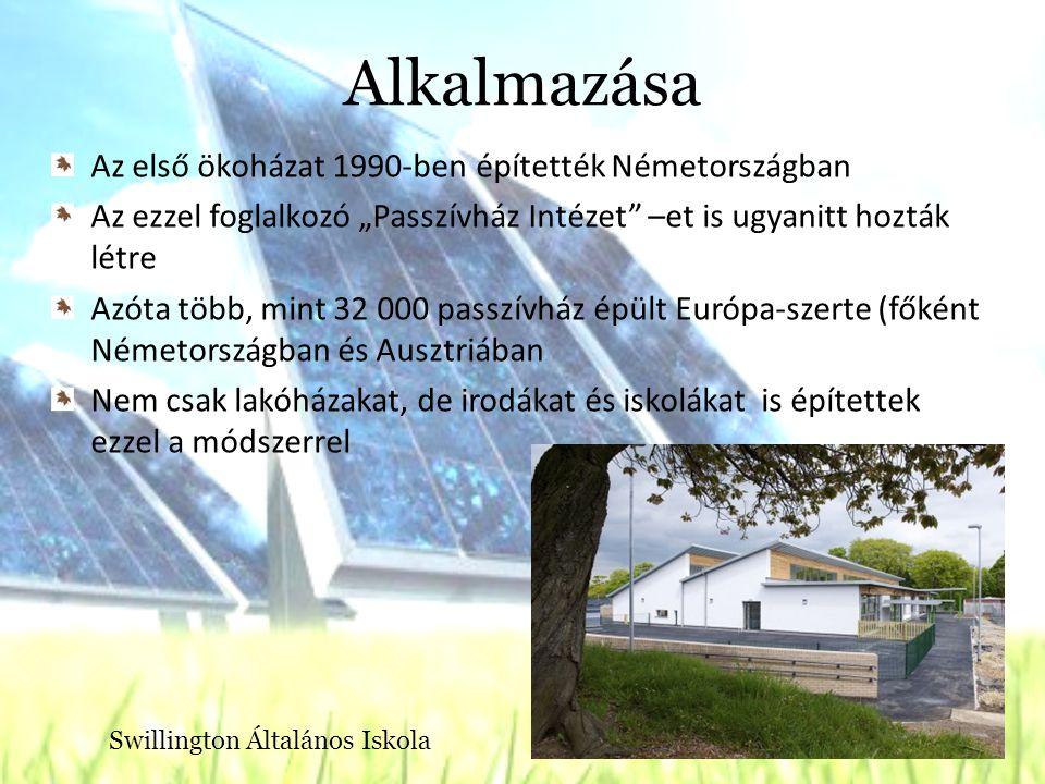 Alkalmazása Az első ökoházat 1990-ben építették Németországban