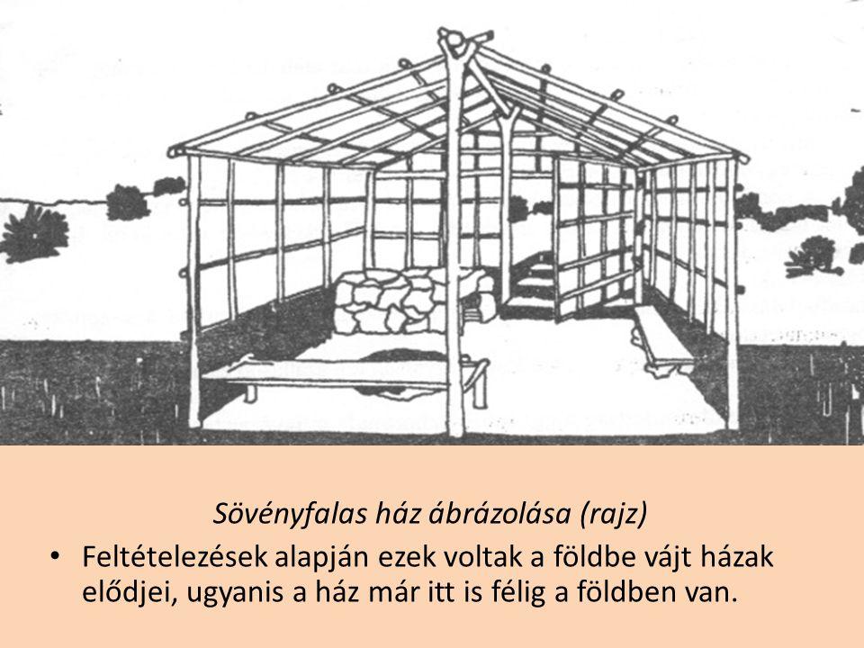 Sövényfalas ház ábrázolása (rajz)